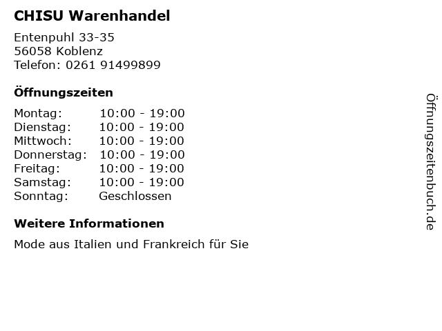 CHISU Warenhandel in Koblenz: Adresse und Öffnungszeiten