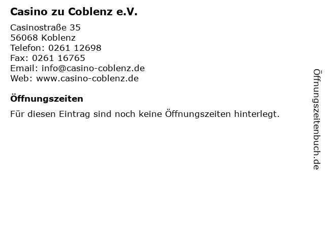 Casino zu Coblenz e.V. in Koblenz: Adresse und Öffnungszeiten