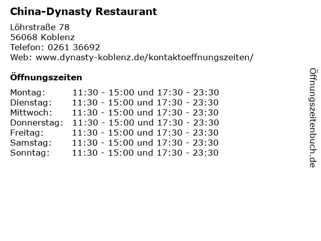 China-Dynasty Restaurant in Koblenz: Adresse und Öffnungszeiten