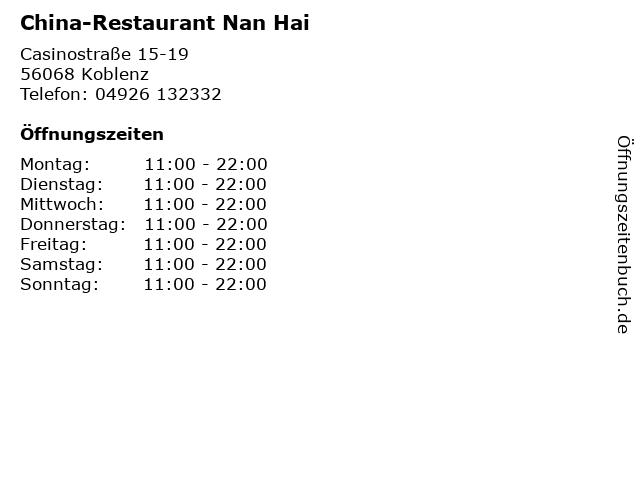 China-Restaurant Nan Hai in Koblenz: Adresse und Öffnungszeiten