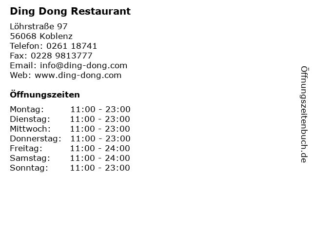 Ding Dong Restaurant in Koblenz: Adresse und Öffnungszeiten