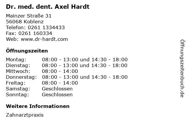 Dr. med. dent. Axel Hardt in Koblenz: Adresse und Öffnungszeiten