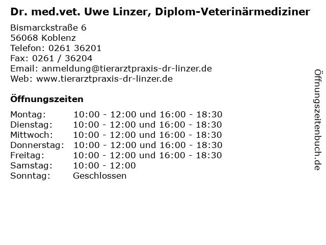 Dr. med.vet. Uwe Linzer, Diplom-Veterinärmediziner in Koblenz: Adresse und Öffnungszeiten