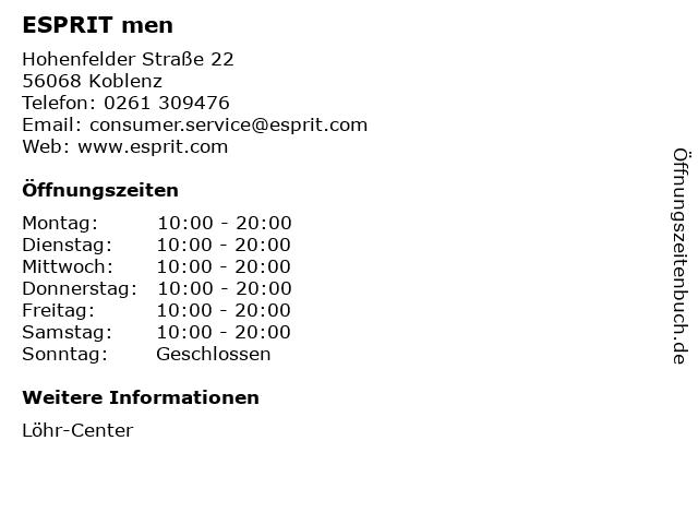 ESPRIT men in Koblenz: Adresse und Öffnungszeiten