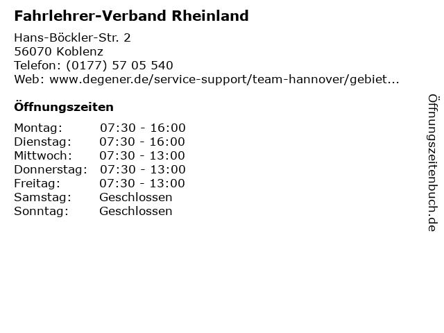 Fahrlehrer-Verband Rheinland in Koblenz: Adresse und Öffnungszeiten