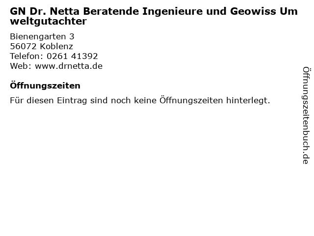 GN Dr. Netta Beratende Ingenieure und Geowiss Umweltgutachter in Koblenz: Adresse und Öffnungszeiten