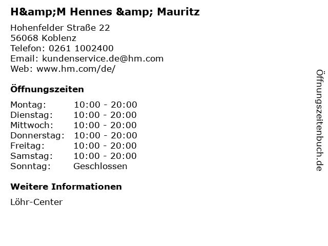 H&M Hennes & Mauritz in Koblenz: Adresse und Öffnungszeiten