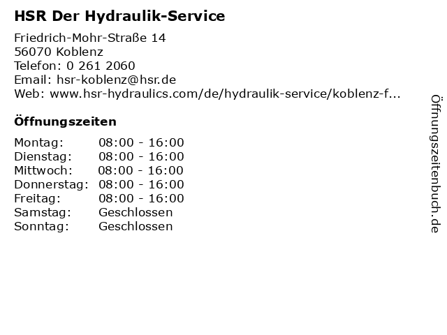 HSR Der Hydraulik-Service in Koblenz: Adresse und Öffnungszeiten