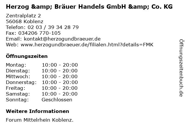 Herzog & Bräuer Handels GmbH & Co. KG in Koblenz: Adresse und Öffnungszeiten