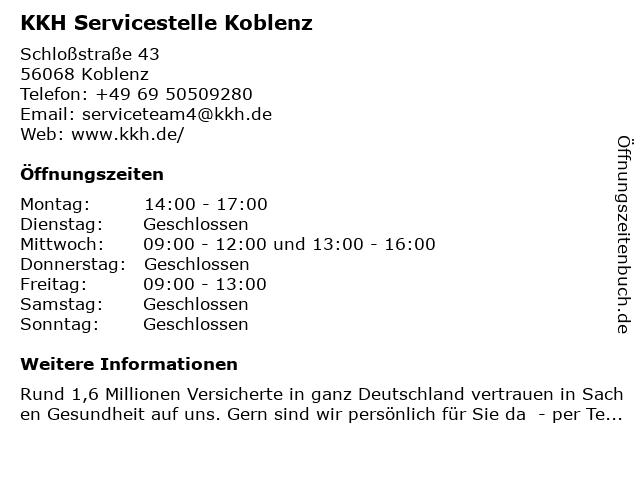 KKH Servicestelle Koblenz in Koblenz: Adresse und Öffnungszeiten