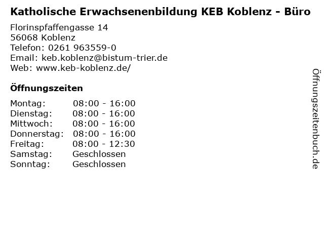 Katholische Erwachsenenbildung KEB Koblenz - Büro in Koblenz: Adresse und Öffnungszeiten