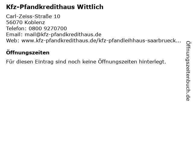 Kfz-Pfandkredithaus Wittlich in Koblenz: Adresse und Öffnungszeiten