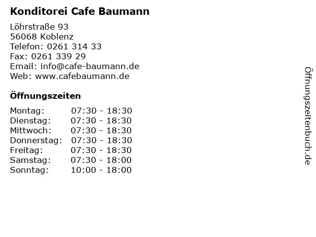 Konditorei Cafe Baumann in Koblenz: Adresse und Öffnungszeiten