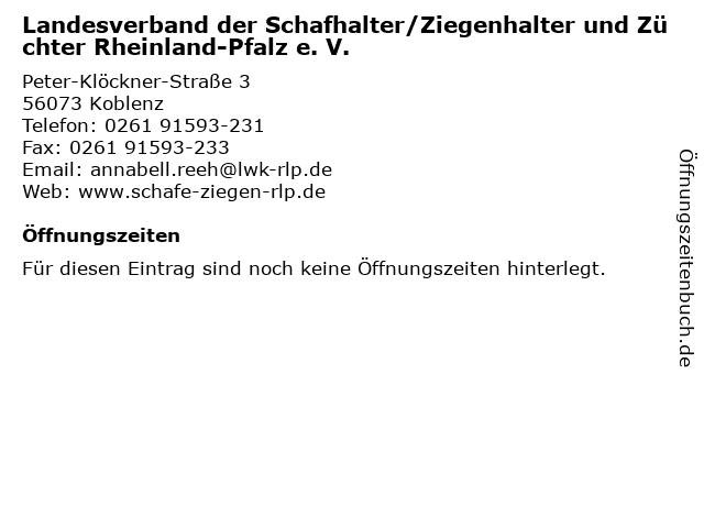 Landesverband der Schafhalter/Ziegenhalter und Züchter Rheinland-Pfalz e. V. in Koblenz: Adresse und Öffnungszeiten