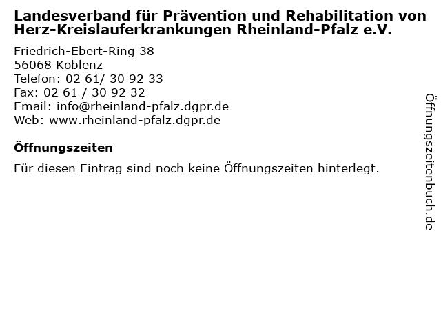 Landesverband für Prävention und Rehabilitation von Herz-Kreislauferkrankungen Rheinland-Pfalz e.V. in Koblenz: Adresse und Öffnungszeiten