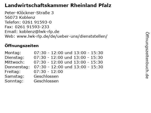 Landwirtschaftskammer Rheinland Pfalz in Koblenz: Adresse und Öffnungszeiten
