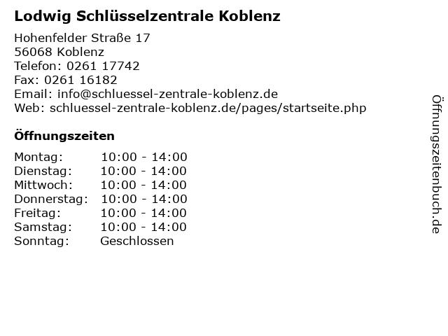 Lodwig Schlüsselzentrale Koblenz in Koblenz: Adresse und Öffnungszeiten