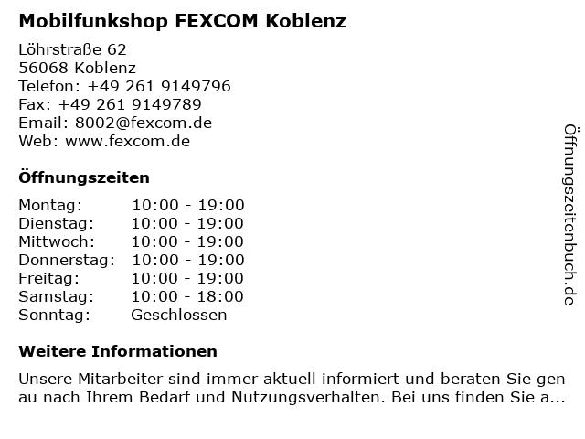 Mobilfunkshop FEXCOM Koblenz in Koblenz: Adresse und Öffnungszeiten