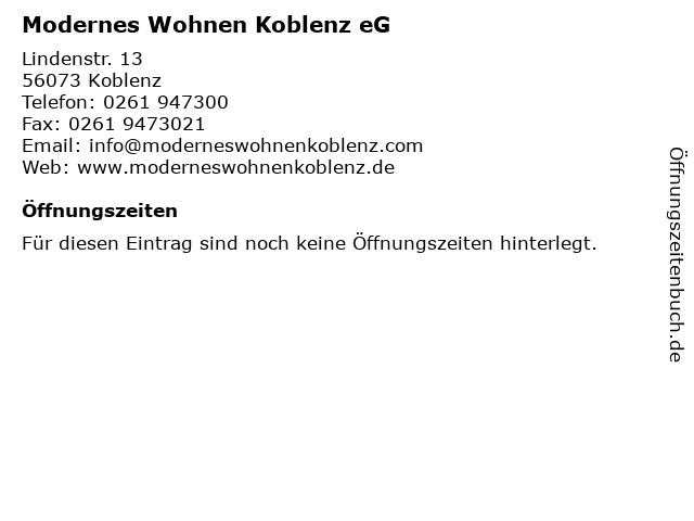 ᐅ Offnungszeiten Modernes Wohnen Koblenz Eg Lindenstr 13 In