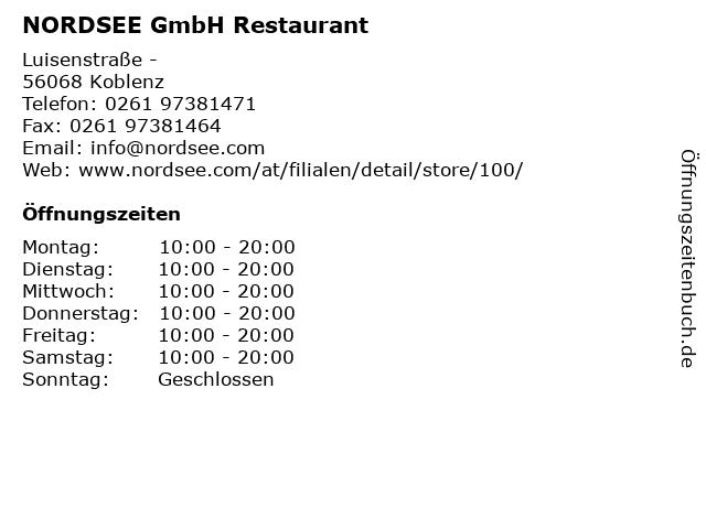 NORDSEE GmbH Restaurant in Koblenz: Adresse und Öffnungszeiten
