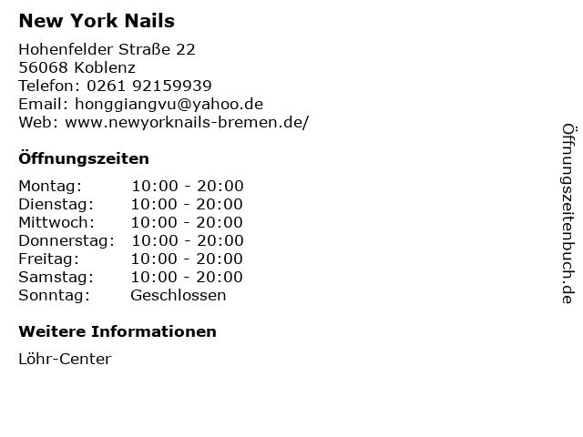 New York Nails in Koblenz: Adresse und Öffnungszeiten