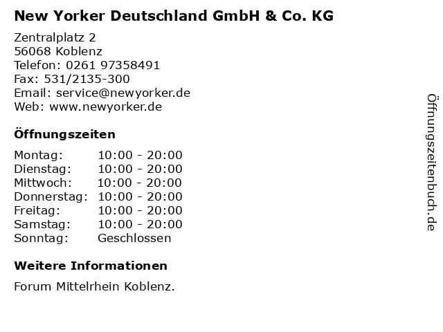 New Yorker Deutschland GmbH & Co. KG in Koblenz: Adresse und Öffnungszeiten