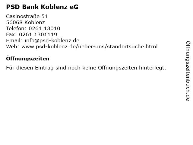 Psd Bank Koblenz Offnungszeiten