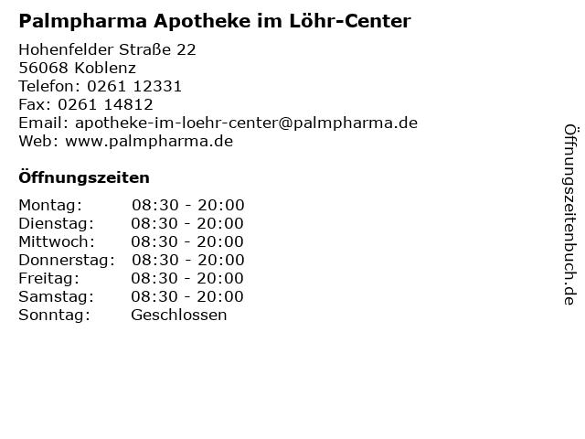 Palmpharma Apotheke im Löhr-Center in Koblenz: Adresse und Öffnungszeiten