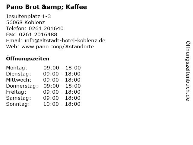 Pano Brot & Kaffee in Koblenz: Adresse und Öffnungszeiten