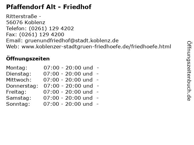 Pfaffendorf Alt - Friedhof in Koblenz: Adresse und Öffnungszeiten