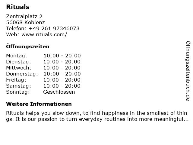 Rituals Cosmetics Germany GmbH in Koblenz: Adresse und Öffnungszeiten