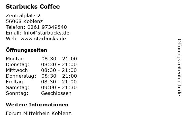 Starbucks Coffee in Koblenz: Adresse und Öffnungszeiten