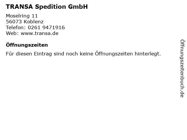 TRANSA Spedition GmbH in Koblenz: Adresse und Öffnungszeiten