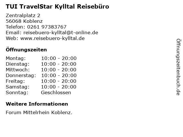 TUI TravelStar Kylltal Reisebüro in Koblenz: Adresse und Öffnungszeiten