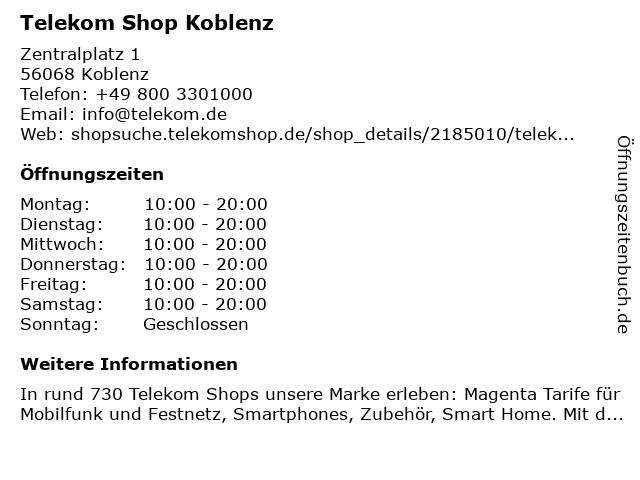 Telekom Shop Koblenz in Koblenz: Adresse und Öffnungszeiten