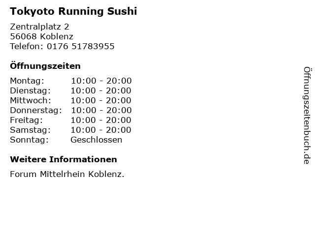 Tokyoto Running Sushi in Koblenz: Adresse und Öffnungszeiten