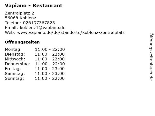 VAPIANO in Koblenz: Adresse und Öffnungszeiten