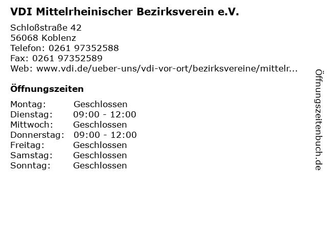 VDI Mittelrheinischer Bezirksverein e.V. in Koblenz: Adresse und Öffnungszeiten