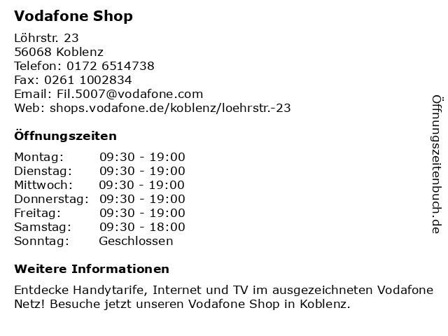 Vodafone Shop in Koblenz: Adresse und Öffnungszeiten