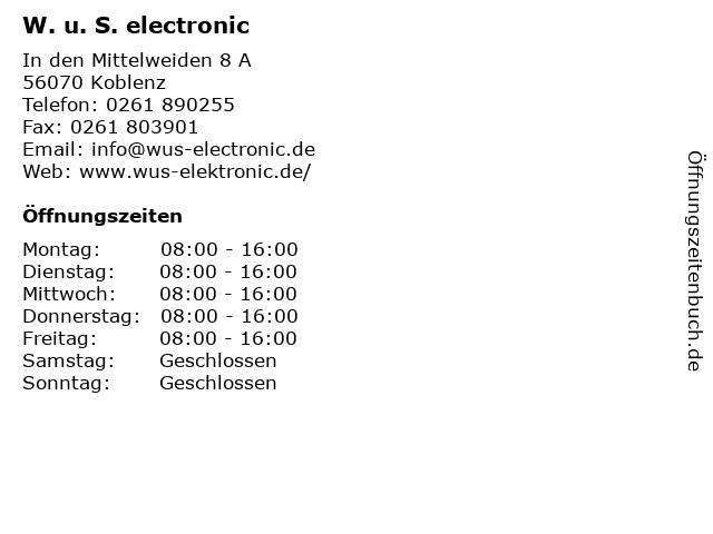 W. u. S. electronic in Koblenz: Adresse und Öffnungszeiten