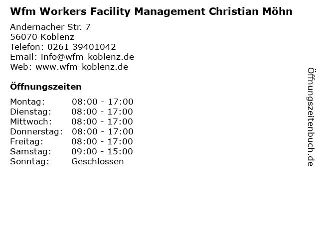 Wfm Workers Facility Management Christian Möhn in Koblenz: Adresse und Öffnungszeiten
