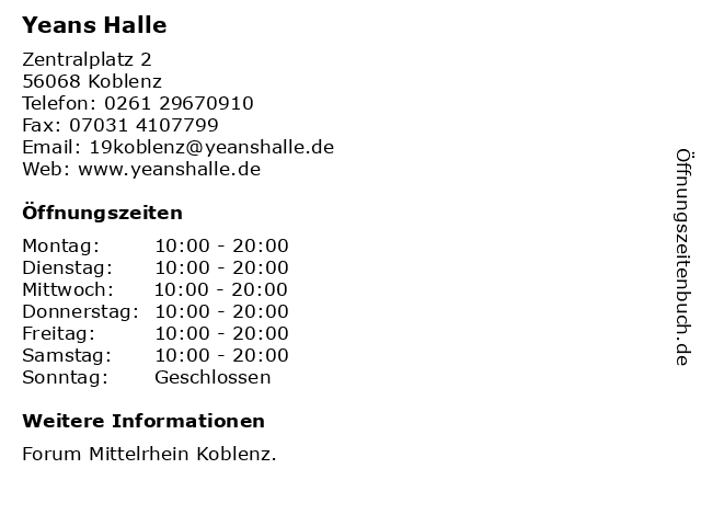 Yeans Halle in Koblenz: Adresse und Öffnungszeiten