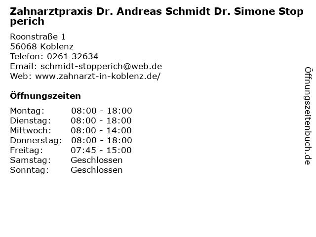 Zahnarztpraxis Dr. Andreas Schmidt Dr. Simone Stopperich in Koblenz: Adresse und Öffnungszeiten