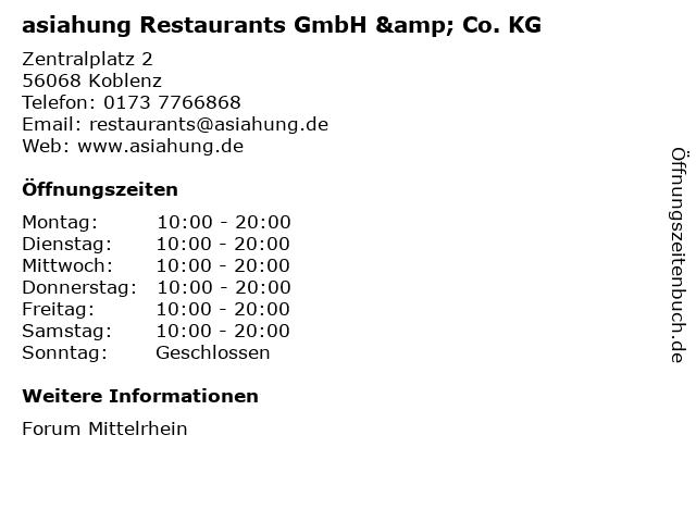 asiahung Restaurants GmbH & Co. KG in Koblenz: Adresse und Öffnungszeiten