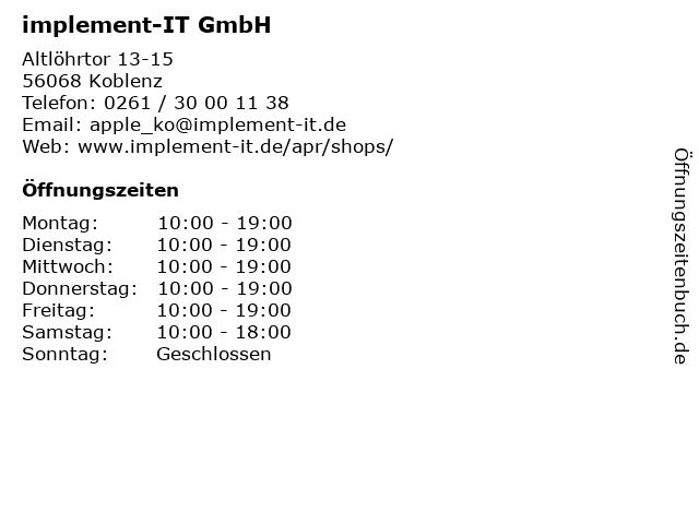 implement-IT GmbH in Koblenz: Adresse und Öffnungszeiten