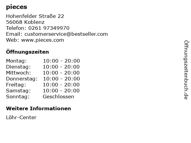 pieces in Koblenz: Adresse und Öffnungszeiten