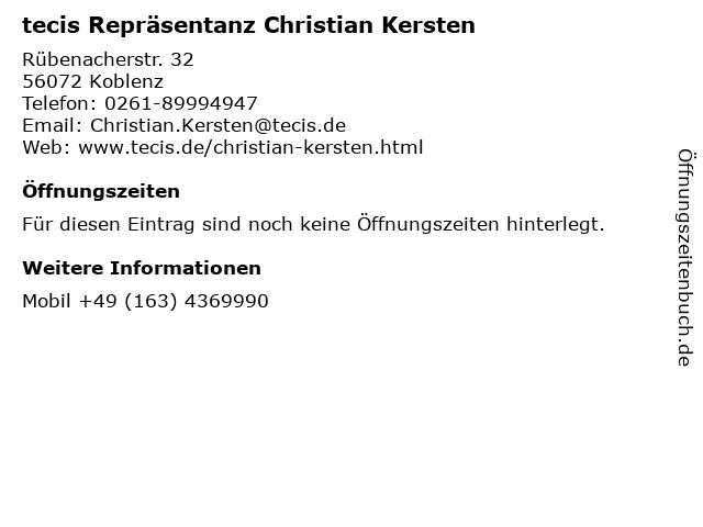 tecis Repräsentanz Christian Kersten in Koblenz: Adresse und Öffnungszeiten