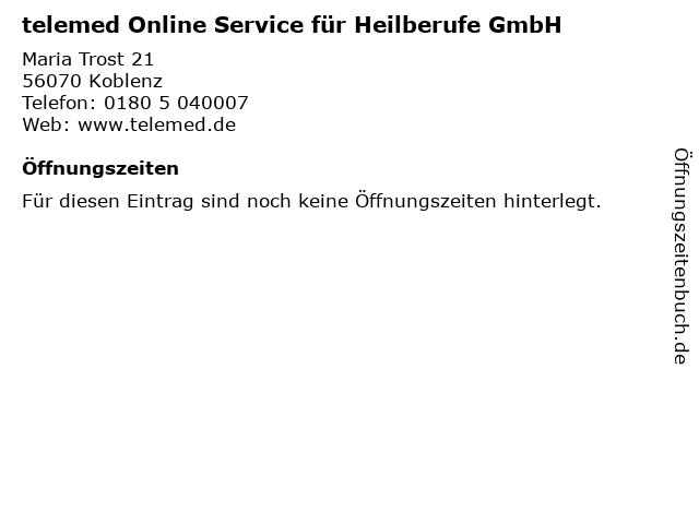 telemed Online Service für Heilberufe GmbH in Koblenz: Adresse und Öffnungszeiten