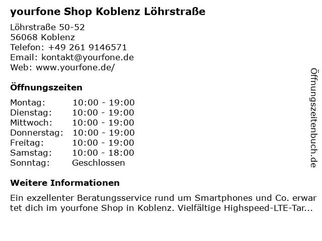 yourfone Shop Koblenz Löhrstraße in Koblenz: Adresse und Öffnungszeiten