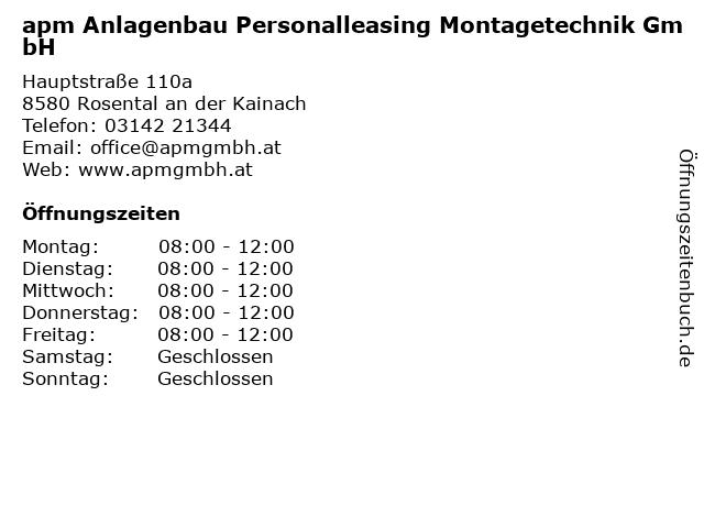 APM Anlagenbau Personalleasing Montagetechnik GmbH in Köflach: Adresse und Öffnungszeiten